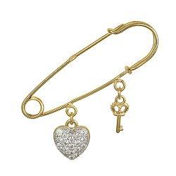 Серебряная булавка Ключ к сердцу с фианитами и позолотой 000025859