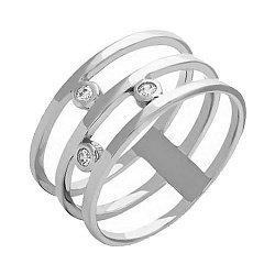 Тройное кольцо из белого золота с фианитами 000022963