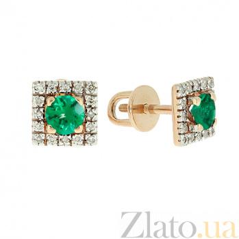 Золотые серьги с бриллиантами и изумрудами Шанталь ZMX--EE-6687_K
