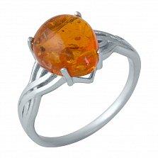 Серебряное кольцо Смиляна с узорной шинкой и янтарем