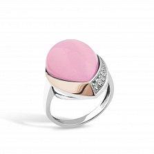 Серебряное родированное кольцо Хильдегарда с золотой накладкой, розовым улекситом и фианитами