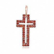 Серебряный крестик Руфина с красными фианитами