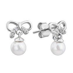 Серебряные серьги-пуссеты с жемчугом и фианитами 000132616