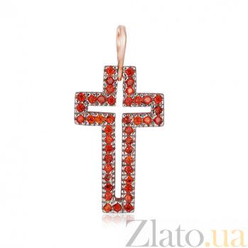 Серебряный крестик с фианитами Маргарита 000028713