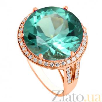 Золотое кольцо Успех с синтезированным аметистом и фианитами 000027261
