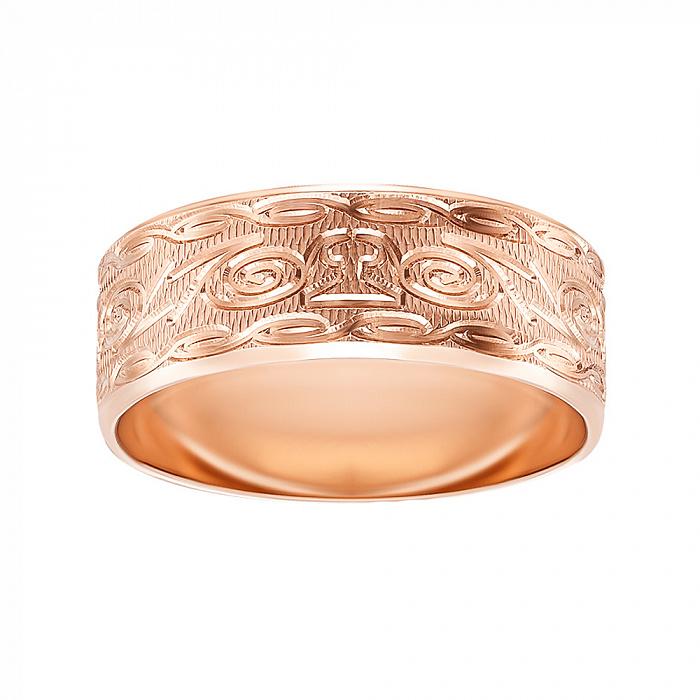 Обручальное кольцо из красного золота с алмазной гранью 000000322 000000322