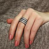 Серебряное кольцо Трио с черным родием и белыми фианитами