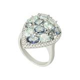 Серебряное кольцо с кварцем и топазами Идиллия