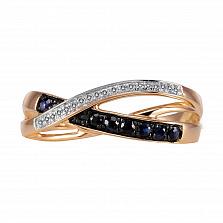 Кольцо из золота с сапфирами и бриллиантами Ивон