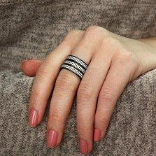 Тройное неразборное серебряное кольцо Трио с черным родием и белыми фианитами
