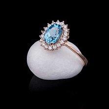 Золотое кольцо Севилья с топазом и фианитами
