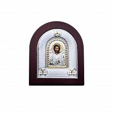 Икона из серебра с позолотой Иисус Христос в дереве