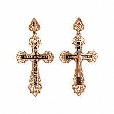 Золотой крестик с черной эмалью Ангел Хранитель
