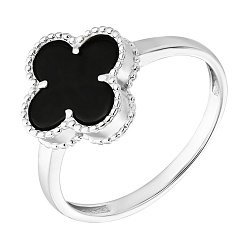 Золотое кольцо Клевер в белом цвете с черным агатом 000103947