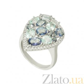 Серебряное кольцо с кварцем и топазами Идиллия 3К846-0357