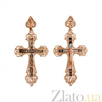 Золотой крестик с черной эмалью Ангел Хранитель VLT--КЭ3М3656