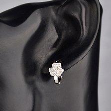 Серебряные серьги Клевер-трехлистник с усыпкой из фианитов