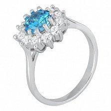Серебряное кольцо с голубым фианитом Марсэйли