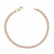 Золотой браслет Нонна в красном цвете с алмазной гранью, 3мм