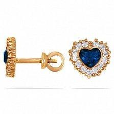 Золотые серьги-пуссеты Сердечность с лондон топазами и фианитами