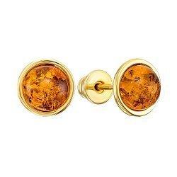 Серебряные серьги-пуссеты с янтарем 000149086