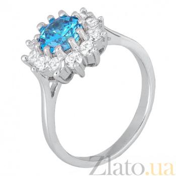 Серебряное кольцо с голубым фианитом Марсэйли SLX--КК2ФЛТ/379
