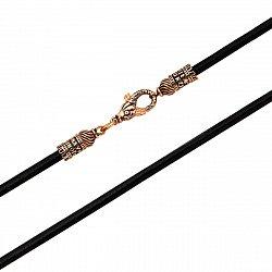 Шнурок из каучука и красного золота с застежкой-рыбкой и чернением 000134081