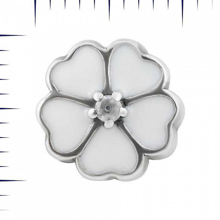 Серебряный шарм Нежный цветок с белой эмалью и цирконием 000081731