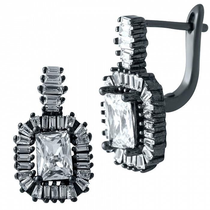 Серебряные серьги Леонор с фианитами и черным родием 000077954