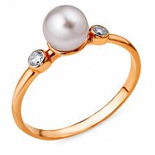 Золотое кольцо с жемчугом и фианитами Бенедикта