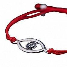 Шелковый браслет Всевидящее око с серебряной вставкой