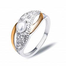 """Кольцо из серебра """"Монтеверде"""" с золотом, жемчугом и фианитами"""