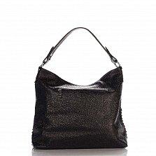 Кожаная деловая сумка Genuine Leather 8967 черного цвета на молнии, с декором из тонких полосок