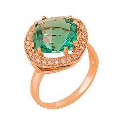 Золотое кольцо Фабьен с синтезированным аметистом и фианитами 000018446