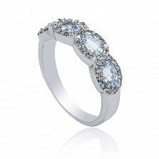 Серебряное кольцо Шарлотта с аквамаринами и фианитами
