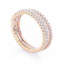 Золотое наборное кольцо в комбинированном цвете дорожками бриллиантов 000116489