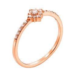 Золотое кольцо Лика в красном цвете с фианитами