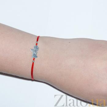 Шелковый браслет с серебряной вставкой Ангел 000023950