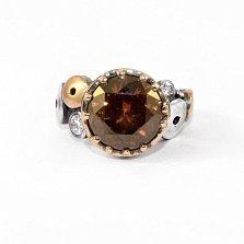Кольцо из серебра Rotundum с золотыми вставками, коньячным и белыми фианитами