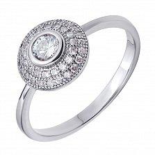 Серебряное кольцо Кратер с белыми фианитами