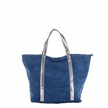 Замшевая сумка на каждый день Genuine Leather 8003 синего цвета на молнии с пайетками