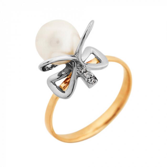 Золотое кольцо Марджери в комбинированном цвете с бантиком, жемчугом и бриллиантами VLA--15850