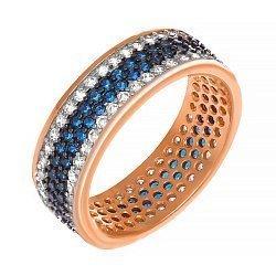 Серебряное кольцо Энрика с позолотой, синими и белыми фианитами 000033978
