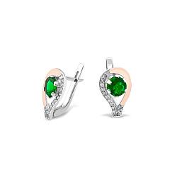 Серебряные серьги с золотыми накладками, зеленым алпанитом, фианитами и родием 000087682