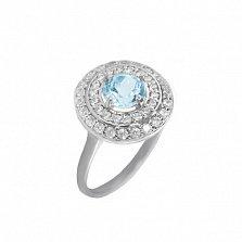 Серебряное кольцо Миамо с топазом и цирконием
