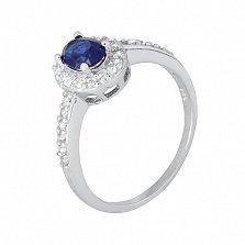 Серебряное кольцо с синим цирконием Диляна