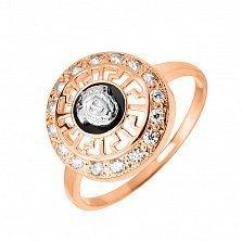 Золотой перстень Афины в комбинированном цвете с ликом, меандром и белыми фианитами