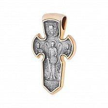 Серебряный крест с позолотой и чернением Ангельская защита
