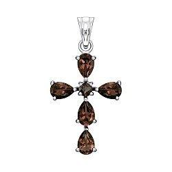 Декоративный серебряный крестик с раухтопазами 000138190