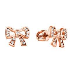 Золотые серьги-пуссеты с бриллиантами 000021057